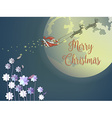 Butterfly and purple flower with flying santa and vector image