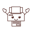 cartoon printer device paper copy sheet technology vector image vector image