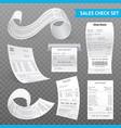 cash register receipts realistic transparent set vector image