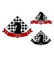 Chess game icons with horse and chessboard vector image