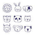 childish set of with cute animals vector image vector image