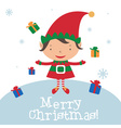 Christmas Elf Card template vector image vector image