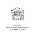 college pixel perfect linear icon vector image vector image