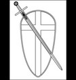 crusaders shield and sword outline vector image vector image