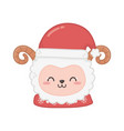 cute sheep head with hat animal merry christmas vector image