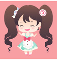 cute sweet happy smile brown hair and twin tail vector image