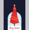 decorated christmas tree in the night vector image vector image