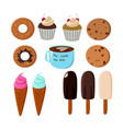 desserts collection pastries and sundae vector image