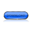 download button shiny blue oval web icon vector image