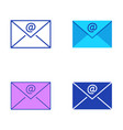 email symbol icon set in flat and line style vector image