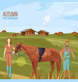 farmers couple in autumn rural landscape vector image vector image