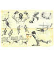 Football set collection of soccer players vector image vector image