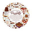 fresh and tasty desserts banner with confectionery vector image