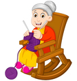 funny grandmother cartoon knitting in a rocking ch vector image