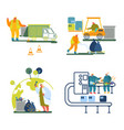 garbage recycling working process set isolated on vector image vector image
