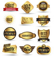 Gold badges set promotion guarantee vector image