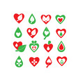 green and red organic natural biology icon set vector image vector image