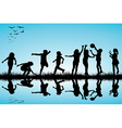 Group of children silhouettes playing outdoors vector image vector image