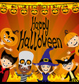 halloween party and a group children vector image