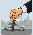hand with the car keys vector image