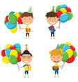 happy boys carrying colorful wrapped gift boxes vector image vector image