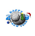happy new year 2019 and volleyball ball vector image