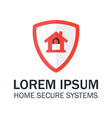 Home Security with Red Shield and Padlock vector image vector image