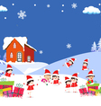 kids playing on Winter forest background vector image vector image