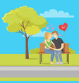love concept merry couple sits bench vector image vector image
