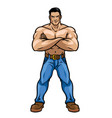 man with muscle body crossed the arm vector image vector image