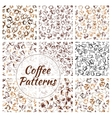 Natural coffee drinks seamless pattern set vector image vector image