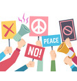 protest concept hands hold different banners and vector image