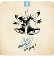 Retro Vintage Hand Drawn Christmas Greeting Card vector image vector image