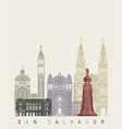 san salvador skyline poster vector image vector image