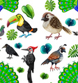 Seamless background with many wild birds vector image