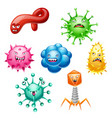 set little angry viruses vector image