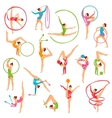 Set Of Color Gymnast Girl Figures vector image