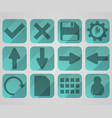 set of flat green icons vector image