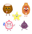 set of funny characters from fruits and coconut vector image vector image