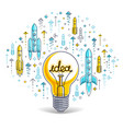 shining light bulb and set of launching rockets vector image vector image