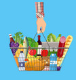 shopping basket full of groceries products vector image vector image