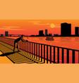 sunset at riverside vector image
