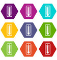 thermometer indicates high temperature icon set vector image vector image
