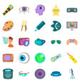 vision icons set cartoon style vector image vector image