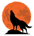 wolf howling at moon in midnight vector image