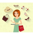 Woman doing online shopping vector image vector image