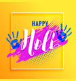yellow background with paint hand and colorful vector image vector image