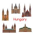tourist sight of hungary thin line icon set vector image