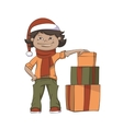 Boy And Gifts vector image
