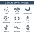 9 branch icons vector image vector image